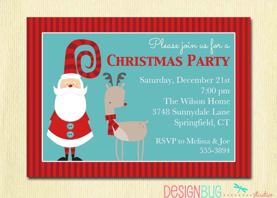 Christmas Party Invitation Secret Santa Holiday Party