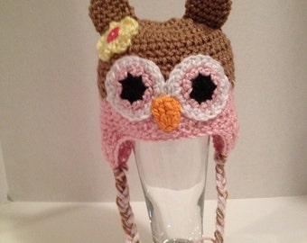 Crochet Baby Hat, Owl Hat, 0-3 Months