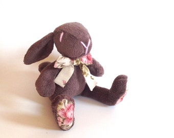 Plush bunny, rabbit, stuffed, brown,gray, floral - Easter bunny - baby shower toy