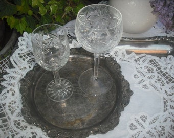 Pr. Vintage Crystal Mis-matched Wine Glasses, Barware, Drinkware, Dining and Entertaining