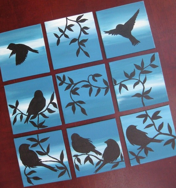 9 birds sparrows canvases canvas paintings set bird by sheerjoy. Black Bedroom Furniture Sets. Home Design Ideas