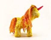 Yellow stuffed unicorn toy, plush unicorn, stuffed pony - Yellow flower unicorn with pink, orange, and yellow mane and tail - IndigoSews