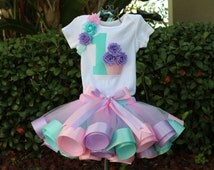 Baby Girl 1st Birthday Outfit - Onesie or T-Shirt w/ Aqua Age #, 3D Cupcake and Light Pink, Lavender & Aqua Ribbon Trim Tutu, Headband