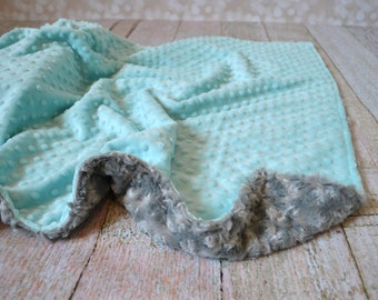 Tiffany Blue and Gray Blanket - Ultra Soft Minky Baby Blanket - Personalized Blanket