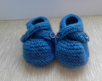 Denim blue baby shoes cross-over strap merino wool mix 0 - 6 months or 6 - 12 months