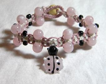 Pink Ladybug Hemp Bracelet