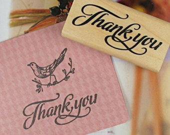 THANK YOU Wooden Rubber Stamp 6cm x 3cm in Stylish Proper Cursive Font - Merci. Scrapbooking. Cardmaking. Tag Making. Stamping