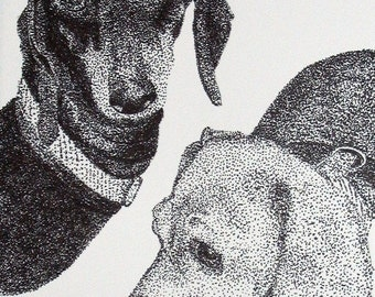 Instant Download of Pair of Dacshunds Pointillism Drawing