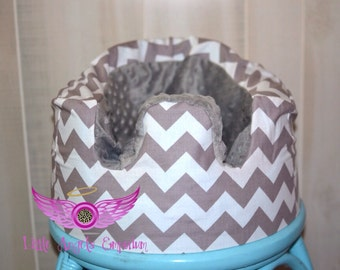 Grey and White Chevron and Grey Minky Bumbo Seat Cover