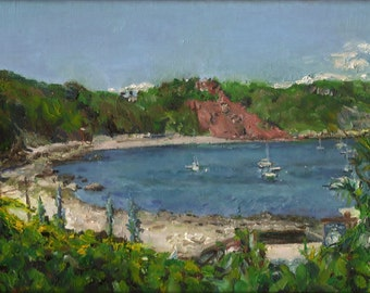 """PRINT REPRODUCTION of the oil painting -  """"Oddicombe Beach in Torquay Devon"""" on A4 paper"""