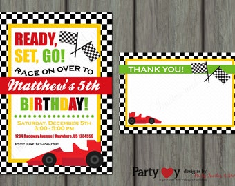 Race Car Birthday Invitation, Racing Birthday Invitation, Go Kart Birthday Invitation, Race Car Invitation, Free Thank You Card