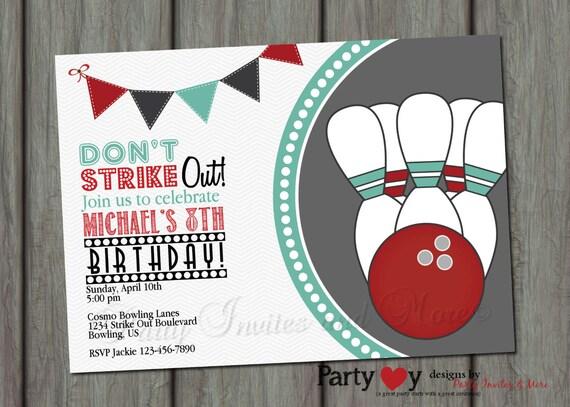 Items similar to Bowling Birthday Invitation Bowling Birthday – Bowling Invitation