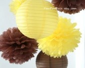 Little Bee - 7 Tissue Paper Pom Poms and 3 Paper Lantern - Fast Shipping - Wedding / Baby Shower / Party / Nursery Decor