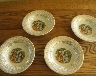 Set of Four Sebring Sauce Dishes Colonial Couple
