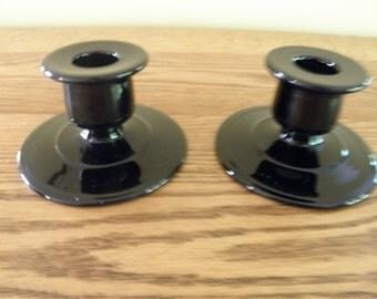 Pair of Black Amethyst Candle Holders