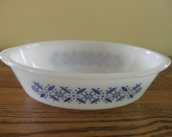 Glasbake Blue on White Casserole