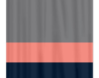 red and navy shower curtain. Custom Color Block Shower Curtain Titanium Grey Coral Navy OR Choose Colors Stripes and Floral Blue Red