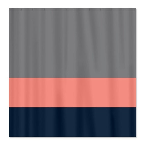 custom color block shower curtain titanium grey coral navy or. Black Bedroom Furniture Sets. Home Design Ideas