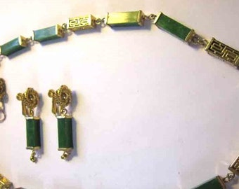 Vintage, Retro Hobe Demi - Necklace and Earrings in Oriental Motif - A Great price!