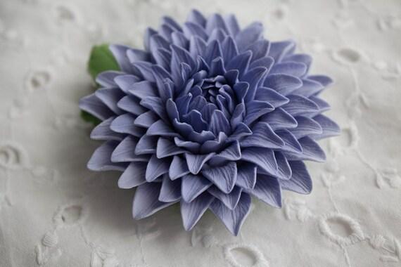 Hair clip polymer clay flower. Dahlia.