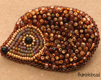 Brooch: Bead Embroidered Hedgehog Brooch - Made to Order Jewellery