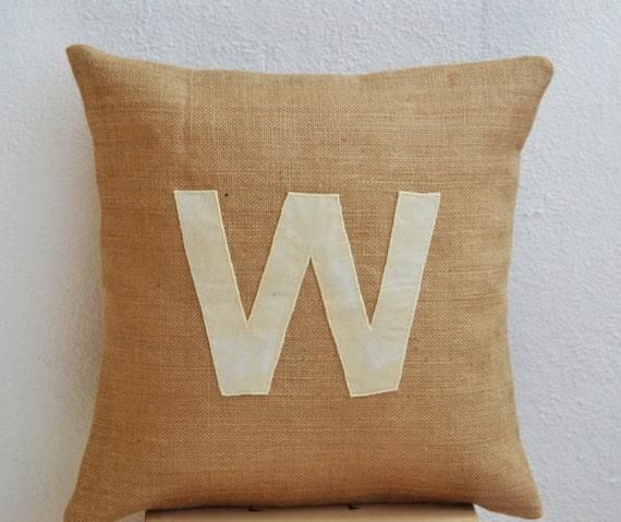 Items similar to Customized Monogram throw pillow- Burlap pillow cover - Ivory Velvet monogram ...
