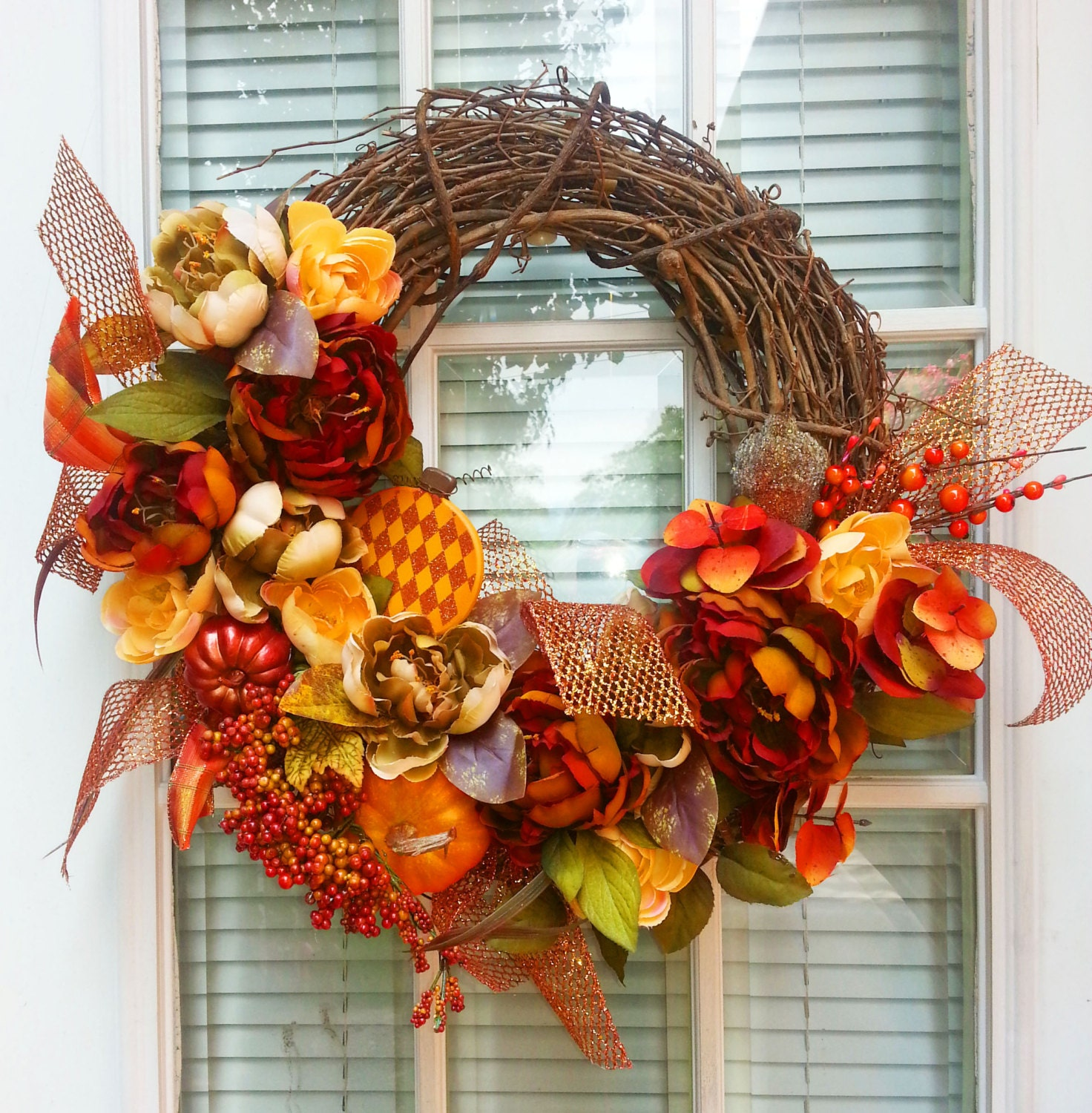 Fall Grapevine Wreath Autumn Wreath By Shadesoftheseasons