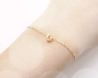 Petite Horseshoe Lucky Bracelet in Gold