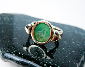 Ring or Pendant w. Vintage Chalcedony Goddess Athena Intaglio Seal. 14K White Gold, Green Chalcedony. Tampico S.F.