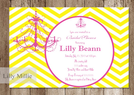 Bridal Shower Blond Yellow and Hot Pink Chevron Invitation Charming DIY Digital Printable Uprint  Lillian  229