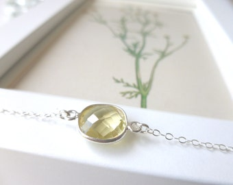 SALE 30% OFF Lemon Quartz Necklace - Lemon Quartz and Sterling Silver Necklace, Chloe