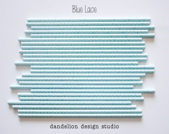 Buy 2, Get 1 FREE!!!     BLUE LACE Paper Straws - Pack of 25 - Dandelion Design Studio