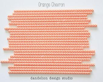 Buy 2, Get 1 FREE!!!    ORANGE Chevron Paper Straws - Pack of 25 - Dandelion Design Studio