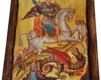 Saint St. George - Orthodox Byzantine icon on wood handmade (22cm x 16.5cm)