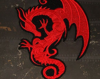 Red Dragon Baroque  Iron On Embroidery Patch MTCoffinz - Choose size
