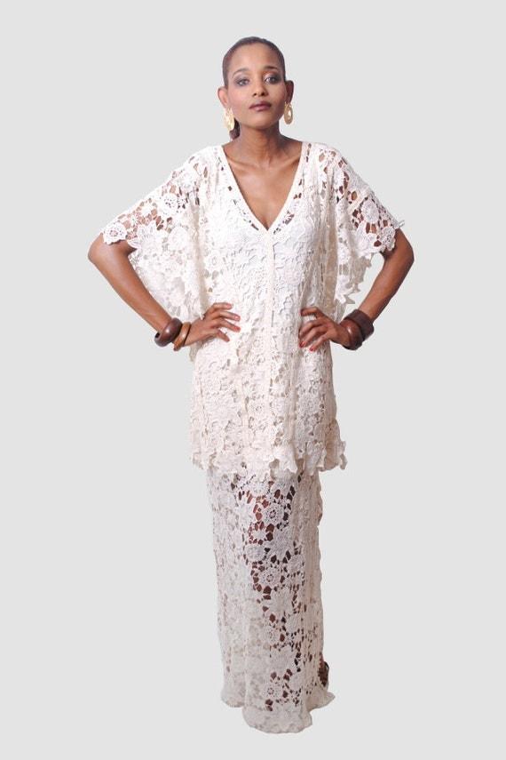 Items similar to crochet lace kaftan dress boho gypsy for White kaftan wedding dress