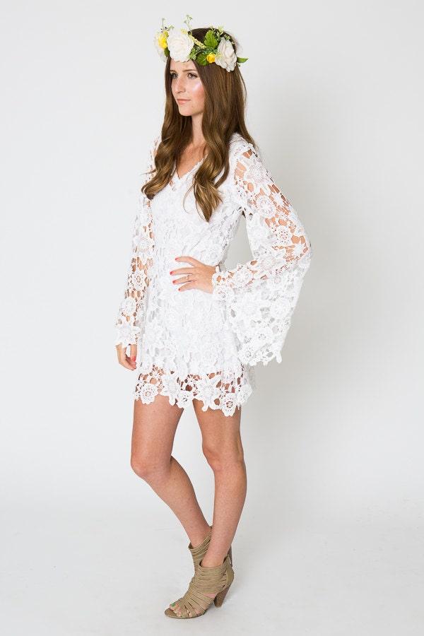 Lace mini dress bell sleeve bohemian wedding dress for Wedding dress bell sleeves