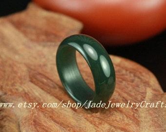 Natural dark Green jade ring, Round charm Ring(U.S. size 5- 10 Custom size)Jade Band Ring -Thick Band - Simple Band Ring