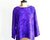 Vintage Silk Shirt / Purple Blouse / Tie Dye / Women's Size Medium