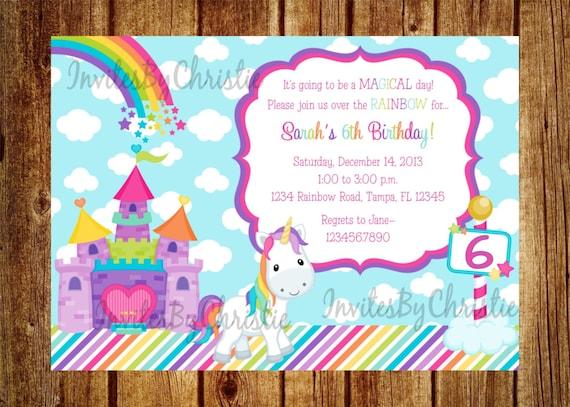 Unicorn Rainbow Birthday Invitation Digital File DIY