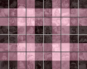 20x20 inch Plaid Photo Mosaic Collage Wall Art - Unique Decoration or Gift Created with your Digital Photos