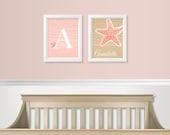 Tropical Nursery Decor - Under the Sea Nursery Art SET - Baby Girl Nursery - Baby Monogram Art - Starfish Prints - Kids Room Wall Decor