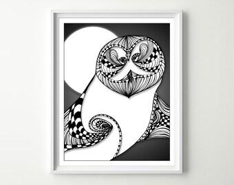 Owl Art Print - Owl Home Decor - Black & White Owl - Owl Lovers - Owl Wall Art - Owl Fine Art - Black and White Drawings - Mixed Media Art
