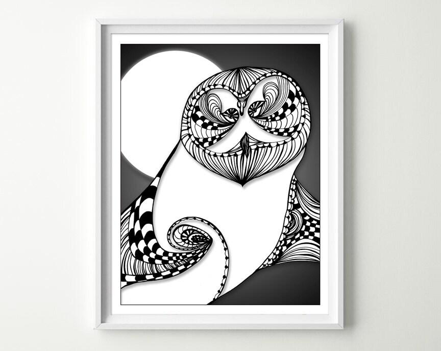 Owl Art Print Owl Home Decor Black White Owl Owl