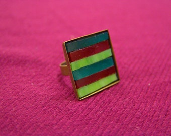 Striped glass ring, adjustable mosaic ring, square stained glass jewelry, free shipping