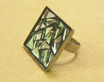 Mirror ring, mosaic adjustable ring, square stained glass jewelry,free shipping