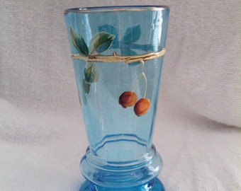 Vintage Blue Painted Water Glass Circa 1910's to 1920's