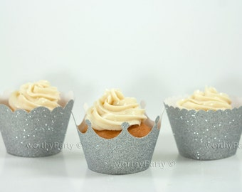 SILVER GLITTER Sparkling Cupcake / Muffin Wrappers - Crown, Scalloped, Mini Scalloped - 3 Assorted designs (set of 12)