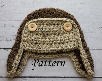 Crochet PATTERN - Newborn to adult Aviator hat Photo Prop -Instant Download PDF 75- Photography Prop Pattern