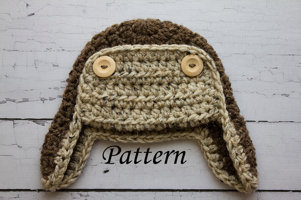 Crochet Newborn Aviator Hat Pattern : Crochet PATTERN Newborn to adult Aviator hat Photo Prop
